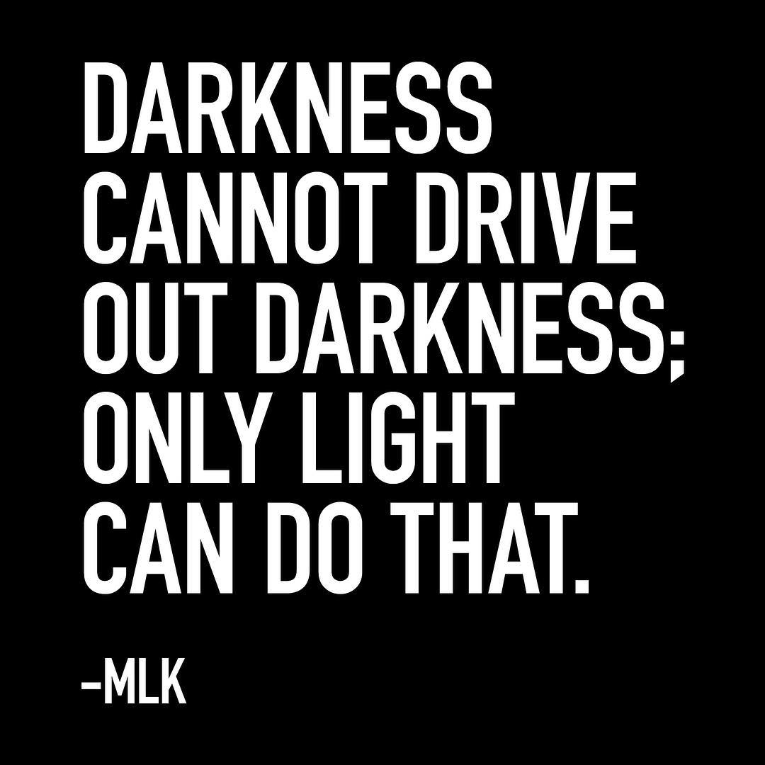 Darkness cannot drive out darkness; only light can do that. –MLK